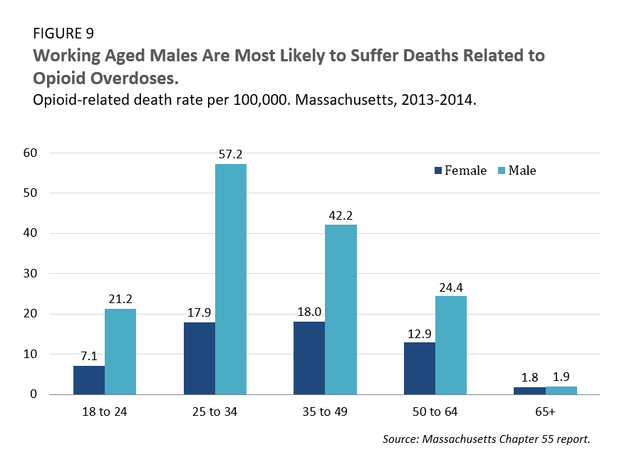 Working Aged Males Are Most Likely to Suffer Deaths Related to Opioid Overdoses